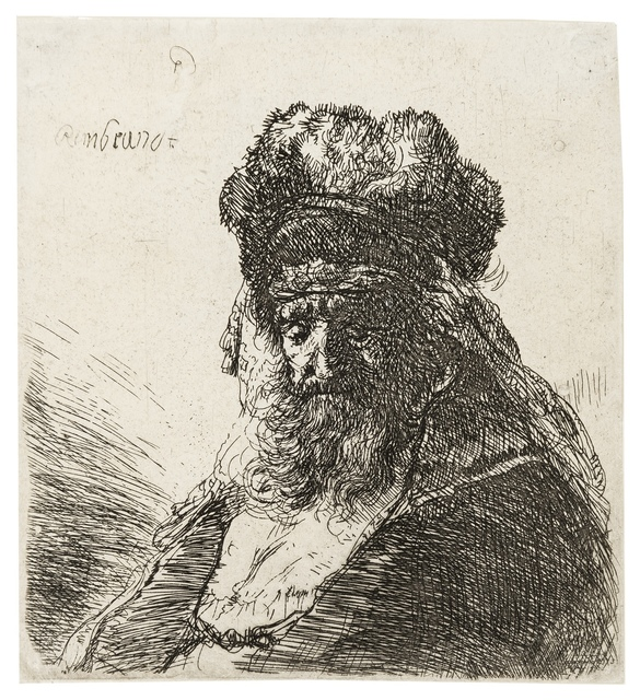 Rembrandt van Rijn, 'Old Bearded Man in High Fur Cap, with Eyes Closed', 1635, Print, Etching, Forum Auctions