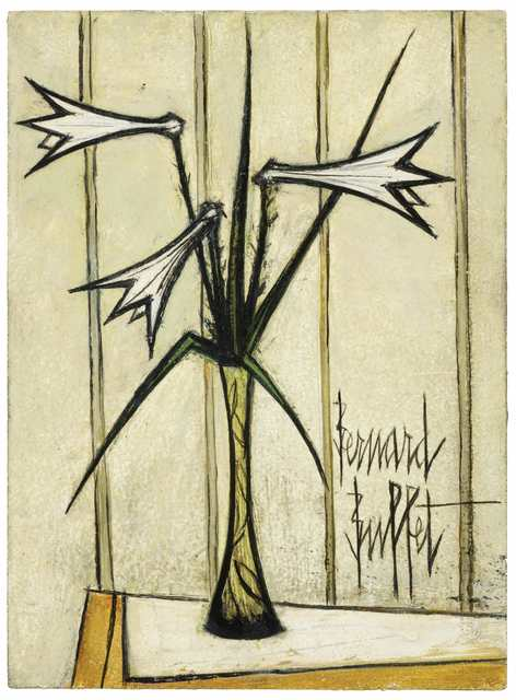 Bernard Buffet, 'Trois Lys dans un Vase', 1969, Painting, Oil on panel, Galerie de Souzy