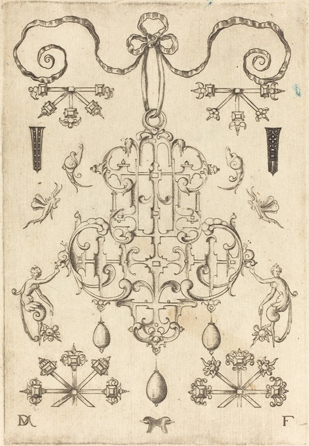 Daniel Mignot, 'Large Pendant with Three Drops Below', 1593, Print, Engraving, National Gallery of Art, Washington, D.C.