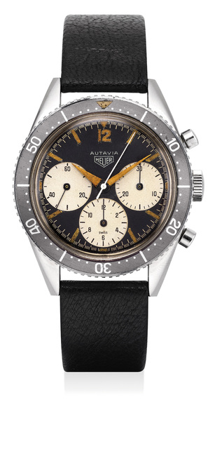 Heuer, 'An extremely rare, early and fine stainless chronograph wristwatch with big subsidiary dials, large bezel and full lumes hands', 1962, Phillips