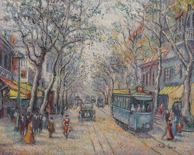 Hugues Claude Pissarro, 'Le tramway bleu, Nice', Painting, Oil on canvas, Heritage Auctions