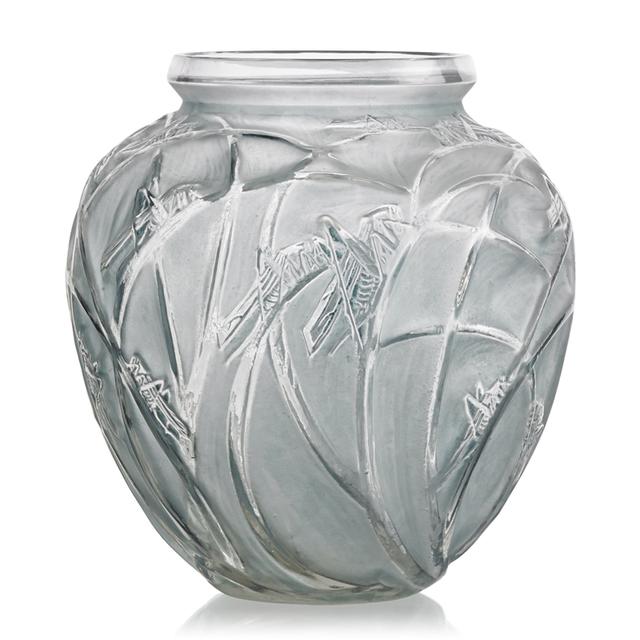 """Lalique, '""""Sauterelles"""" Vase, France, M P. 414, No. 888', des. 1912, Rago/Wright"""