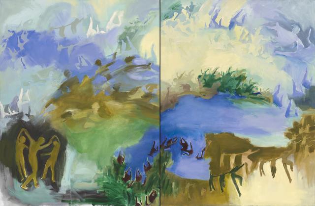 Iwalani Kaluhiokalani, 'Long Distance, diptych', 2020, Painting, Oil on canvas, Galatea Fine Art