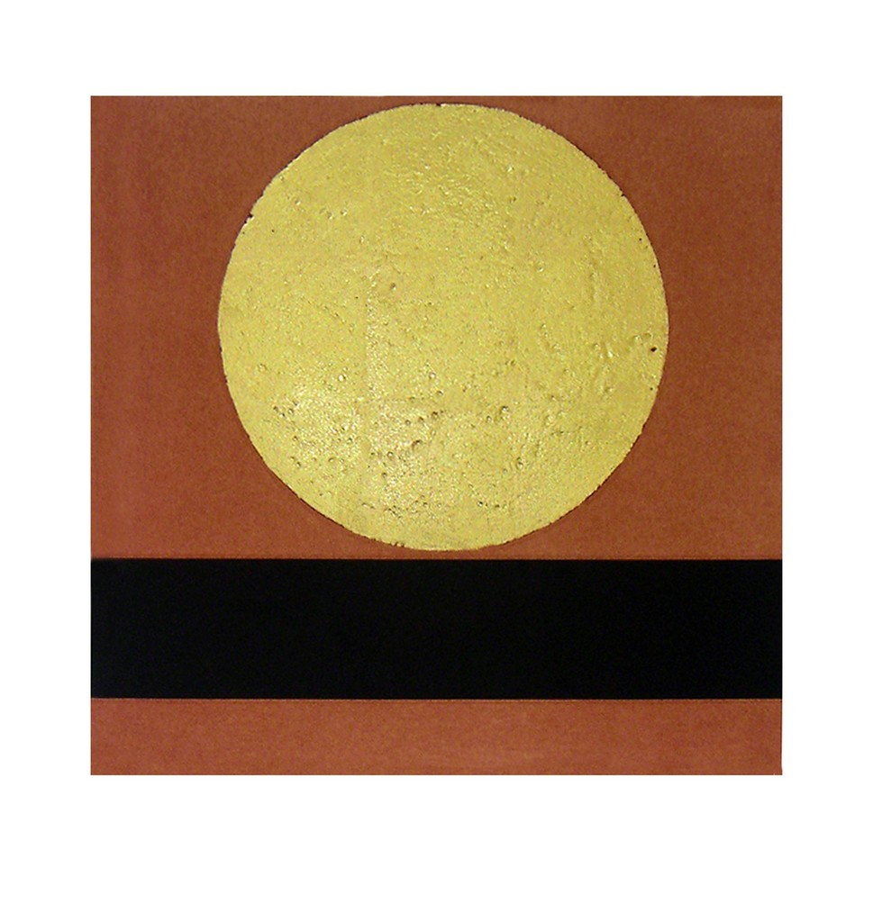Patrick Scott, Untitled, 2009.  Intaglio print with carborundum and hand applied 23.5 carat gold leaf.  Accompanies a limited edition book about the artist.