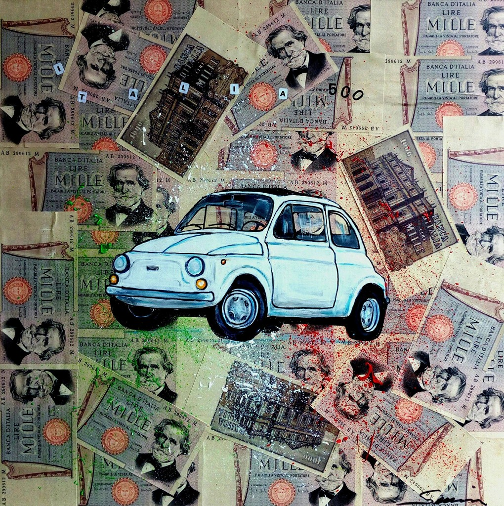 Francesco Senise, 2018 - 500 ITALIA - Mixed on canvas cm 50 x 50