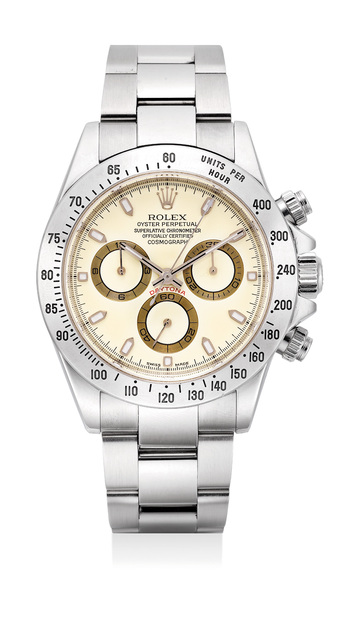 """Rolex, 'An extremely fine and rare stainless steel chronograh wristwatch with """"cream dial"""", bracelet, guarantee and presentation box', 2002, Phillips"""