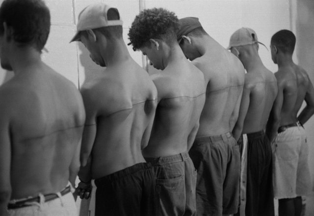 , '250 cm Line Tattooed On 6 Paid People, Havana, Cuba,' 1999, Galerie Thomas Zander