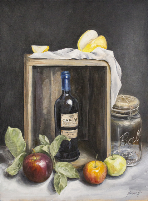 , 'Still Life with Wine and Apples,' 2018, Eastend Studio and Gallery