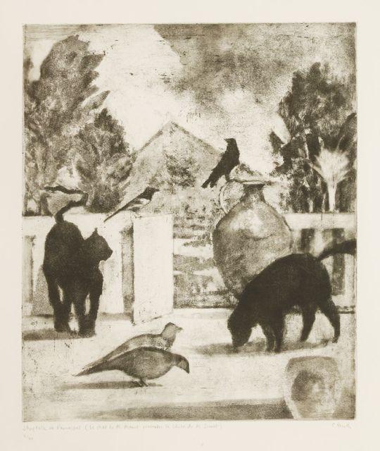 Peter Freeth RA, 'SHOP TALK ON PARNASSUS (LE CHAT DE M. MANET RENCONTRE LE CHIEN DE M SEURAT)', signed, Sworders