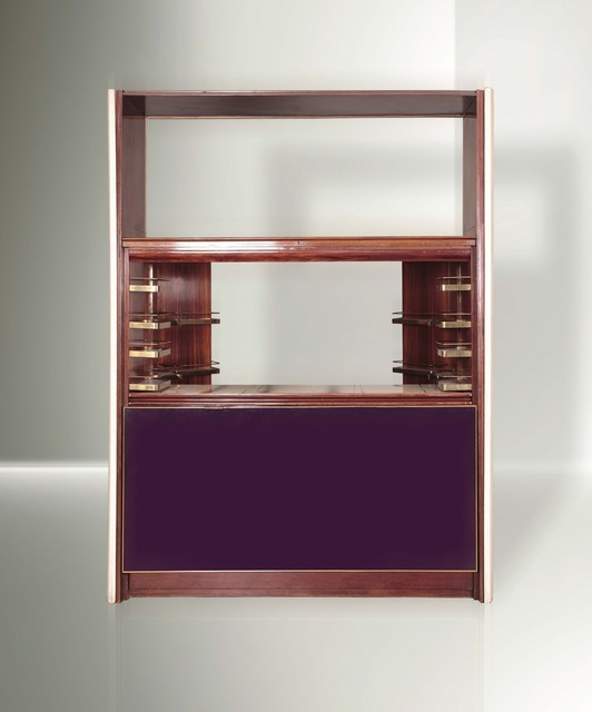 Osvaldo Borsani, 'a wooden bar cabinet with metal mechanic elements, brass details and glass and fabric linings', 1950 ca., Design/Decorative Art, Cambi