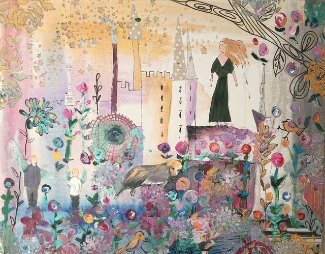 Claire Westwood, ' My Day, fantasy land, wonderful flowers, lady, layers of paints stencil, collage Time on 1stdibs: 5 days', 2019, Flat Space Art