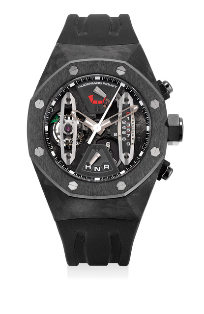 Audemars Piguet, 'An extremely fine and rare forged carbon and ceramic skeletonized tourbillon chronograph wristwatch with sweep center seconds, 237-Hour power reserve, dynamographe indication, warranty and box', Circa 2010, Phillips