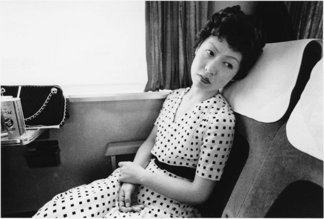 Nobuyoshi Araki, 'Yoko on train - Sentimental Journay', 1971, Photography, Gelatin silver print on baryta paper later print, Galleria 13