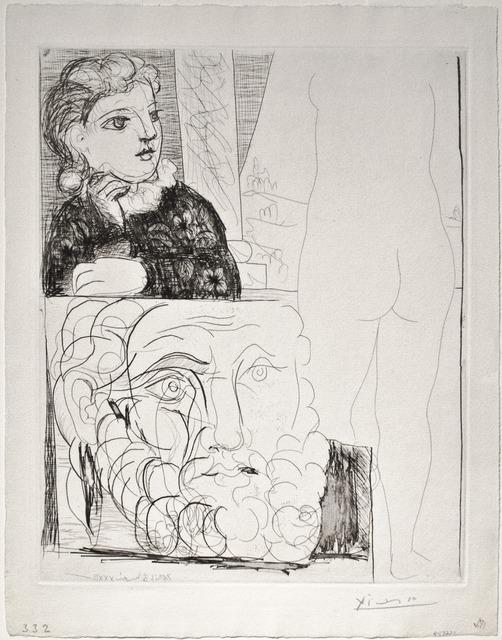 Pablo Picasso, 'Femme accoudée Sculpture de Dos et Tête barbue (Woman sitting, Back of Sculpture and Bearded Man)', 1933, Print, Etching, R. S. Johnson Fine Art