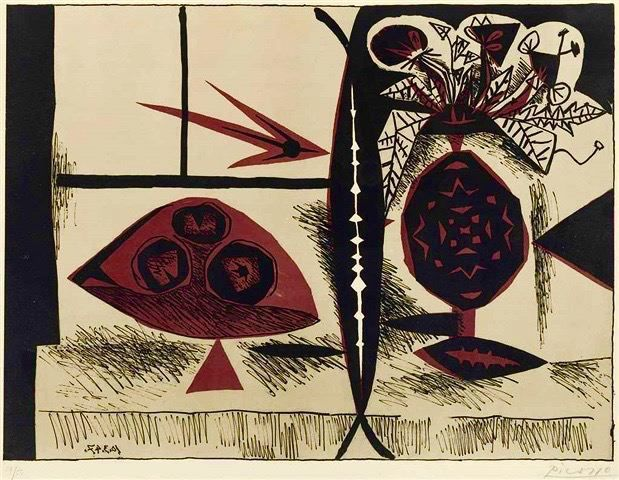 Pablo Picasso, 'Composition Au Vase De Fleurs ', 1947, Print, Lithograph in Colours, Off The Wall Gallery