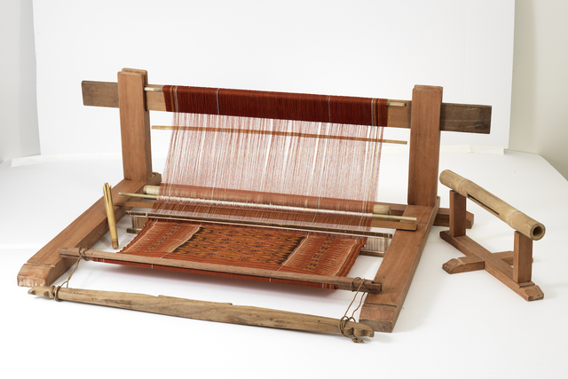 , 'Cagcag (backstrap loom), comprising frame, yoke, shuttle, blade/beater, reed, lease bar, string heddle, and loom cloth,' 2017, Bard Graduate Center Gallery