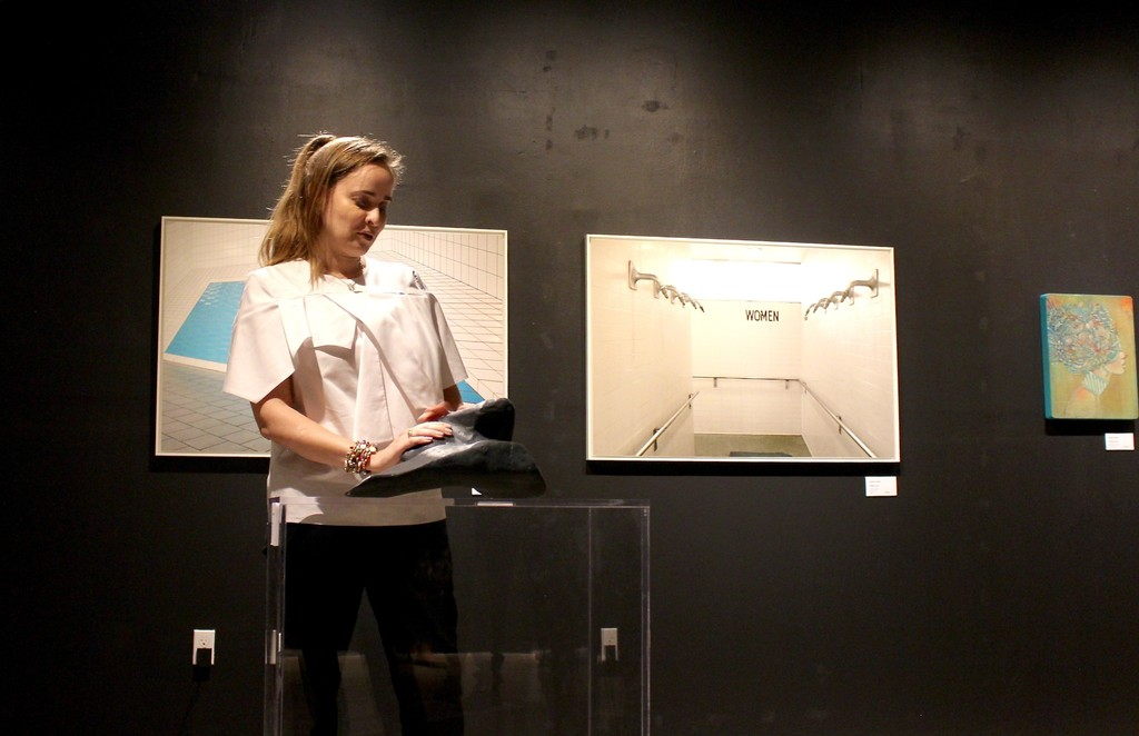 "Artist Fernanda Frangetto discussing her piece.  ""Slim"" 2013"