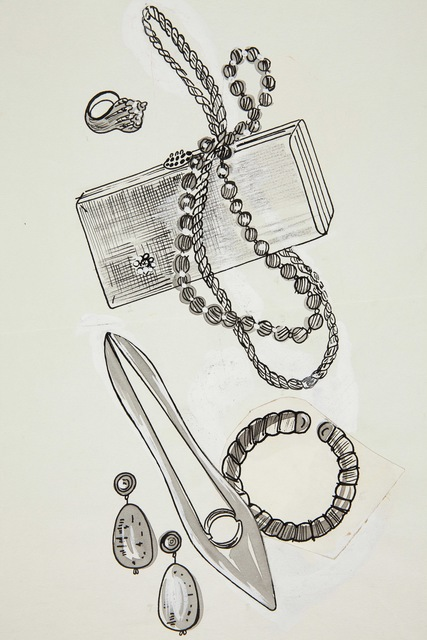 Andy Warhol, 'Shoe, Purse and Jewelry Items', 1957, Laurence Miller Gallery