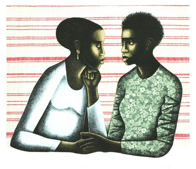 Elizabeth Catlett, 'Gossip', 2005, Print, Digital print and photolithograph., The Brodsky Center at PAFA
