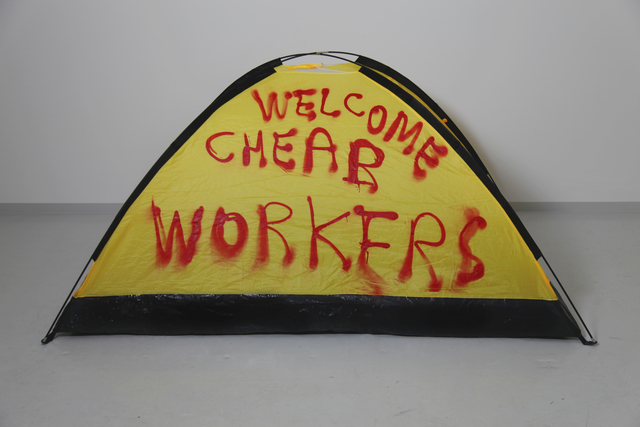, 'WELCOME CHEAP WORKERS,' 2017, SABSAY