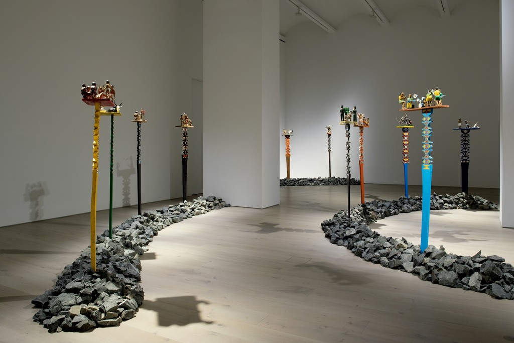 View of the exhibition Aloalo, Mahafaly Sculptures of the Efiaimbelos, Perrotin New York (June 28 - August 17, 2018) © Photo: Guillaume Ziccarelli. Courtesy of the artist & Perrotin