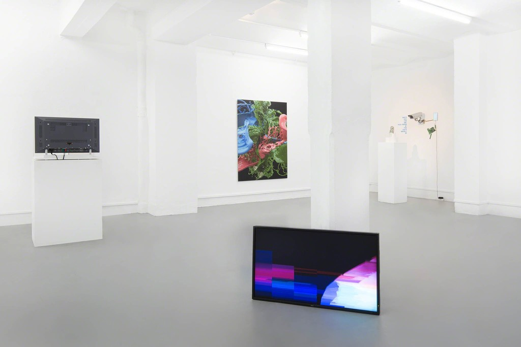 The Wrong Club - Installation view: Kilian Kretschmer, Banz und Bowinkel,  Igor Štromajer, UBERMORGEN