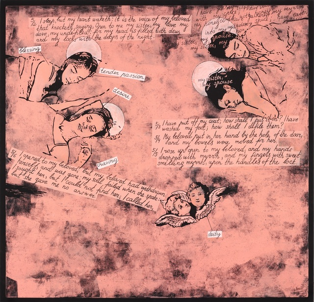 Laisvydė Šalčiūtė, 'Song of Songs IV', 2010, Painting, Oil and acrylic on canvas, woodcut, Contour Art Gallery