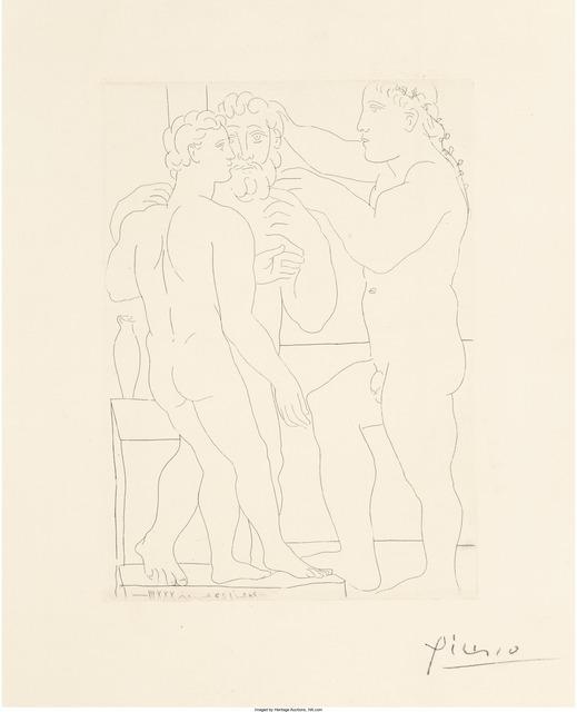 Pablo Picasso, 'Deux hommes sculptés, pl. 52, from La Suite Vollard', 1933, Print, Etching on Montval laid paper, Heritage Auctions