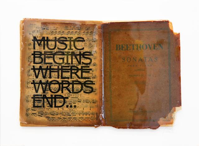 , 'Untitled (MUSIC BEGINS WHERE WORDS END...),' 2018, Fabien Castanier Gallery