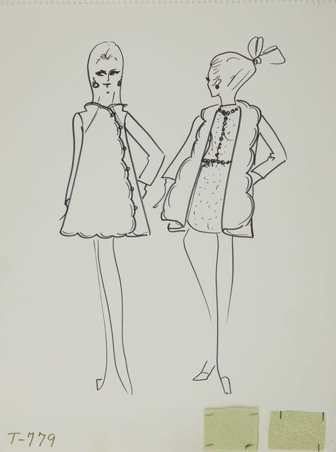 Karl Lagerfeld, 'Karl Lagerfeld Original Fashion Sketch Ink Drawing with Fabric  T-779', 1963-1969, Mixed Media, Ink Pen on Paper with Fabric, Modern Artifact