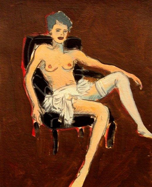 Nora Maciel, 'Chica con Media Blanca', Painting, Acrylic, Galleria Dante
