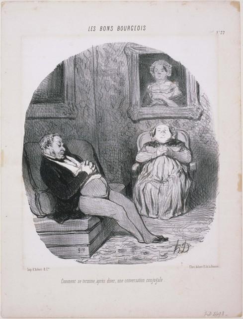 Honoré Daumier, 'Les Bons Bourgeois: Comment se termine...Une conversation conjugale', 1846, Phillips Collection