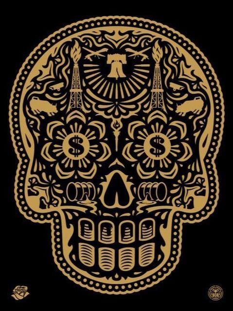 Shepard Fairey, 'Power & Glory Day of the Dead Skull (Gold)', 2014, Samuel Owen Gallery