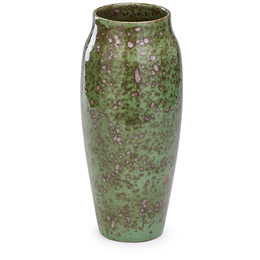 Exceptional Tall Vase, Red And Moss Crystals Glaze, Los Angeles, CA