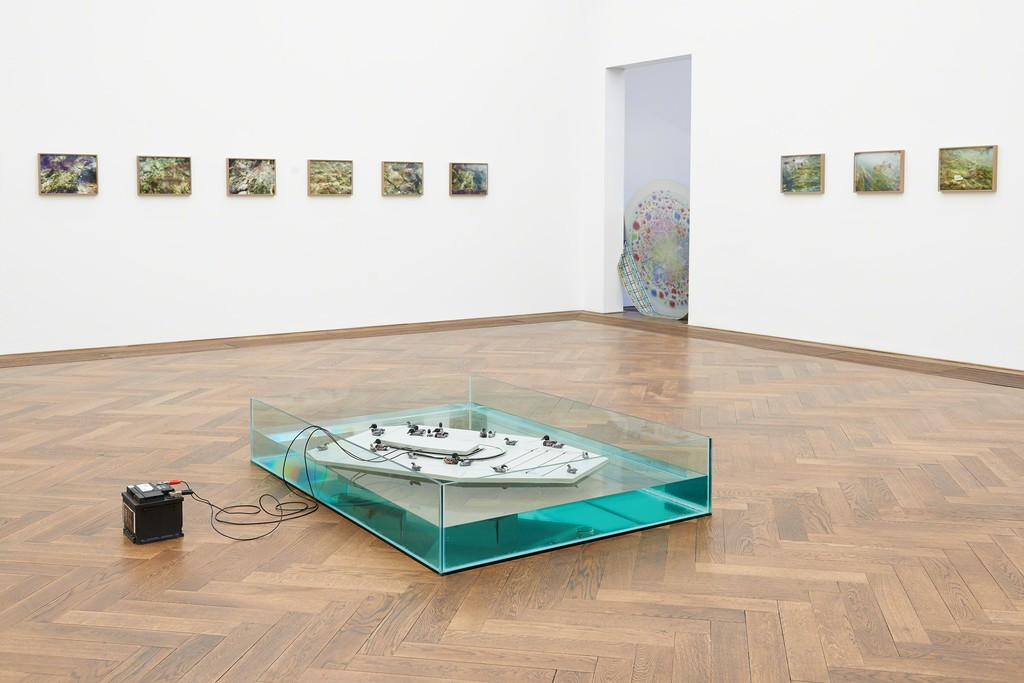 Marina Pinsky, Installation view Dyed Channel, Kunsthalle Basel, 2016. Photo: Philipp Hänger