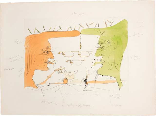 Salvador Dalí, 'Le Télégraphe (The Telegraph), for Hommage à Leonardo da Vinci (American Inventions)', 1975, Print, Drypoint with extensive hand-colouring in watercolour, on Arches paper, with full margins, Phillips