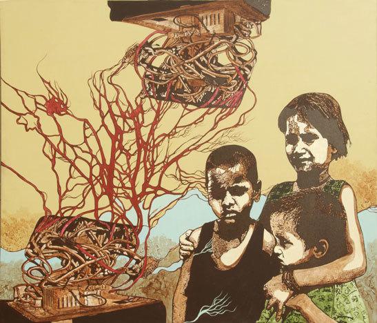 Sonia Mehra Chawla, 'Untitled ', Mixed Media, Acrylic and Ink on canvas and mixed media on canvas, Exhibit 320