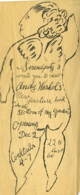 """Andy Warhol, 'Extremely rare, early hand made invitation to book launch of """"In the Bottom of My Garden"""" Serendipity 3', ca. 1954, Alpha 137 Gallery"""