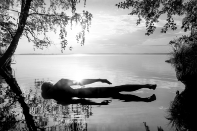 Self-portrait. Dead Man Swimming. Kajaani, Finland, 2021