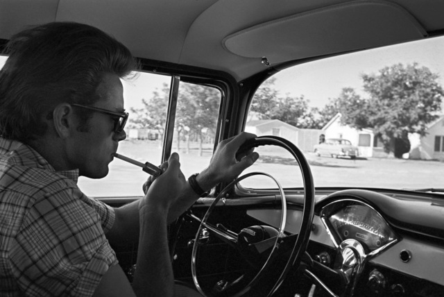 Richard C. Miller, 'James Dean Smoking in a Car During the Shooting of GIANT', 1956, White Cross