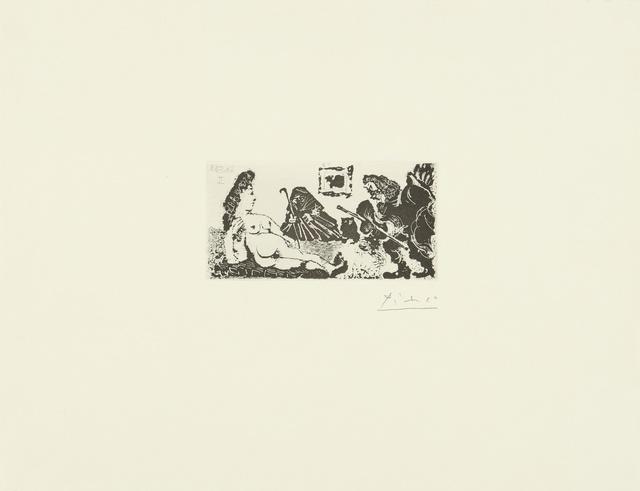 Pablo Picasso, 'Vieux beau saluant très bas une pupille de La Célestine (B. 1593; Ba. 1609)', 1968, Print, Aquatint and drypoint, Sotheby's