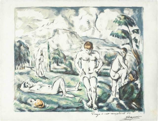 Paul Cézanne, 'Les Baigneurs (Grand Planche) (Druick I; Venturi 1157)', Print, Color lithograph on MBM laid paper, Doyle