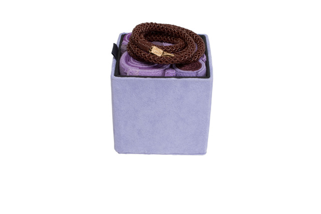 Steven and William Ladd, 'Purple Jewelry Tower Netting Necklace and Box', 2013, Mingei International Museum
