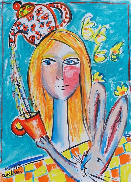Auguste Blackman, 'Tea Bunny', 2021, Painting, Acrylics on paper, Angela Tandori Fine Art