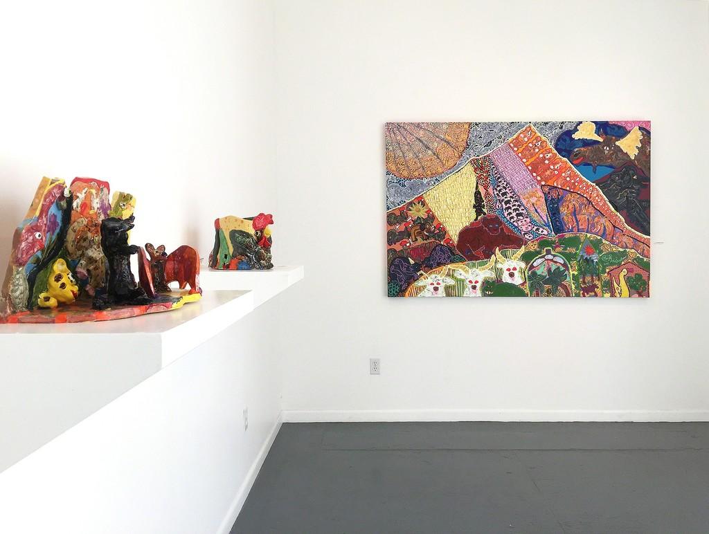 Maija Peeples-Bright, ceramic pieces and EnorMOOSE Everest, 2017
