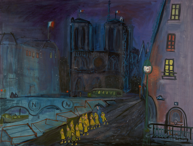 , 'Notre Dame at Night,' ca. 1950, Debra Force Fine Art
