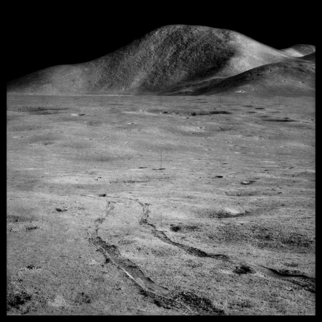 , '095 Rover Tracks and Mount Hadley Rising 15,000 Feet Over the Marsh of Decay; Photographed by James Irwin, Apollo 15, July 26-August 7, 1971,' 1999, Danziger Gallery