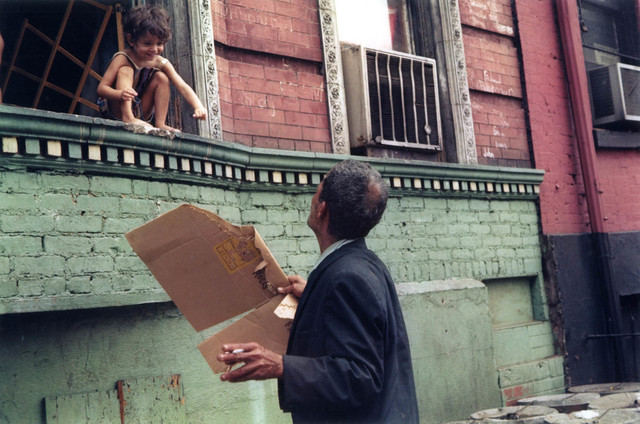 Helen Levitt, 'N.Y.C. (child at window, man with box)', 1972, Laurence Miller Gallery