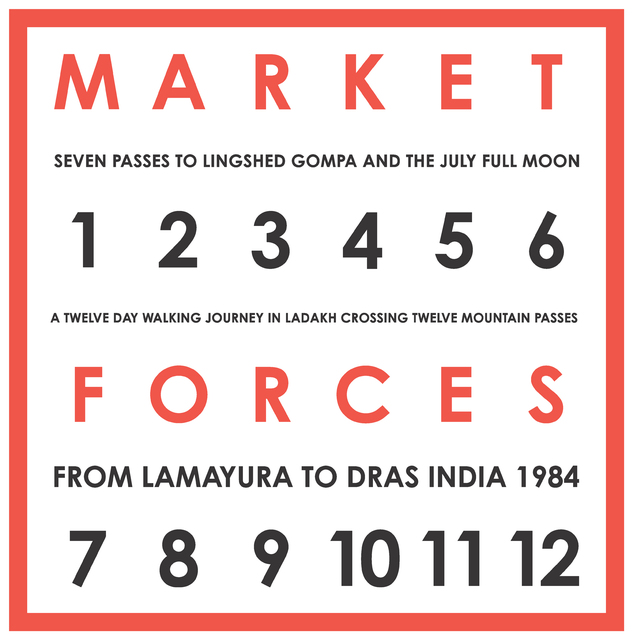 , 'Market Forces. Seven Passes to Lingshed Gompa And The July Full Moon. A Twelve Day Walking Journey In Ladakh Crossing Twelve Mountain Passes, From Lamayura To Dras India, 1984,' 1984, Galerie Thomas Schulte