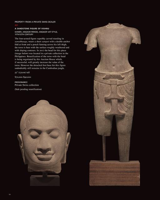 , 'A Sandstone Head of Vishnu,' , C. Grimaldis Gallery